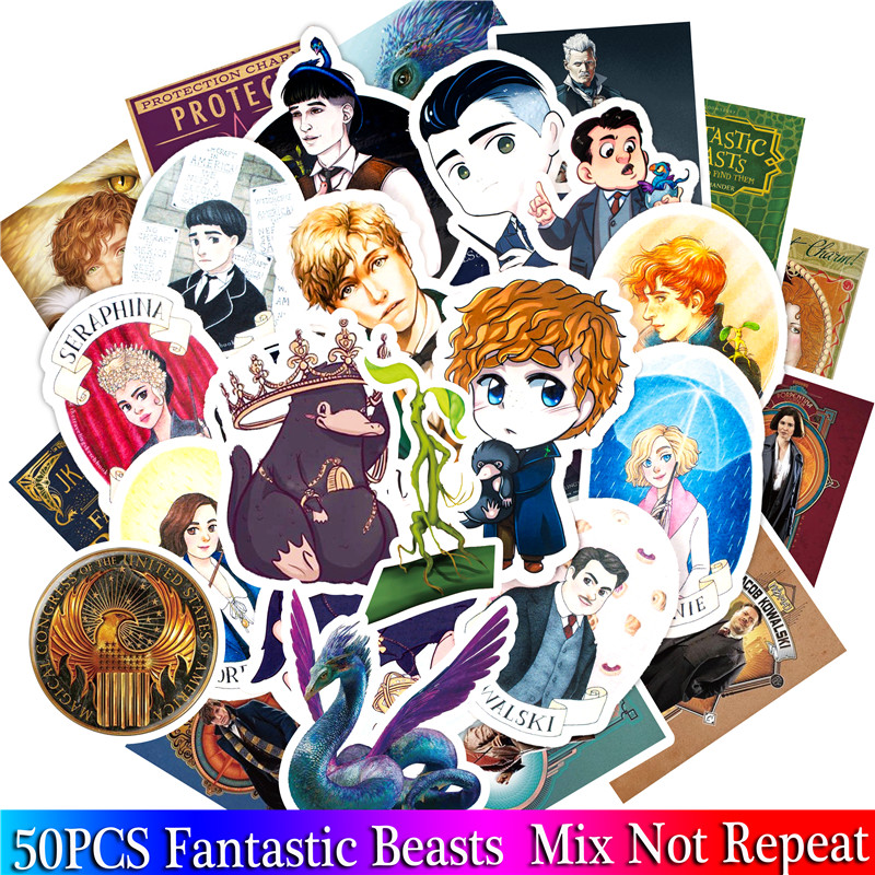 50PCS Pack Fantastic Beasts Stickers Set Stickers For Kids Luggage Skateboard Laptop Cartoon Anime Stickers For Children