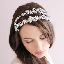 2015 hoja elegante Crystal Bridal Tiara hechos a mano Rhinestone de la venda de la boda celada accesorios de la joyería