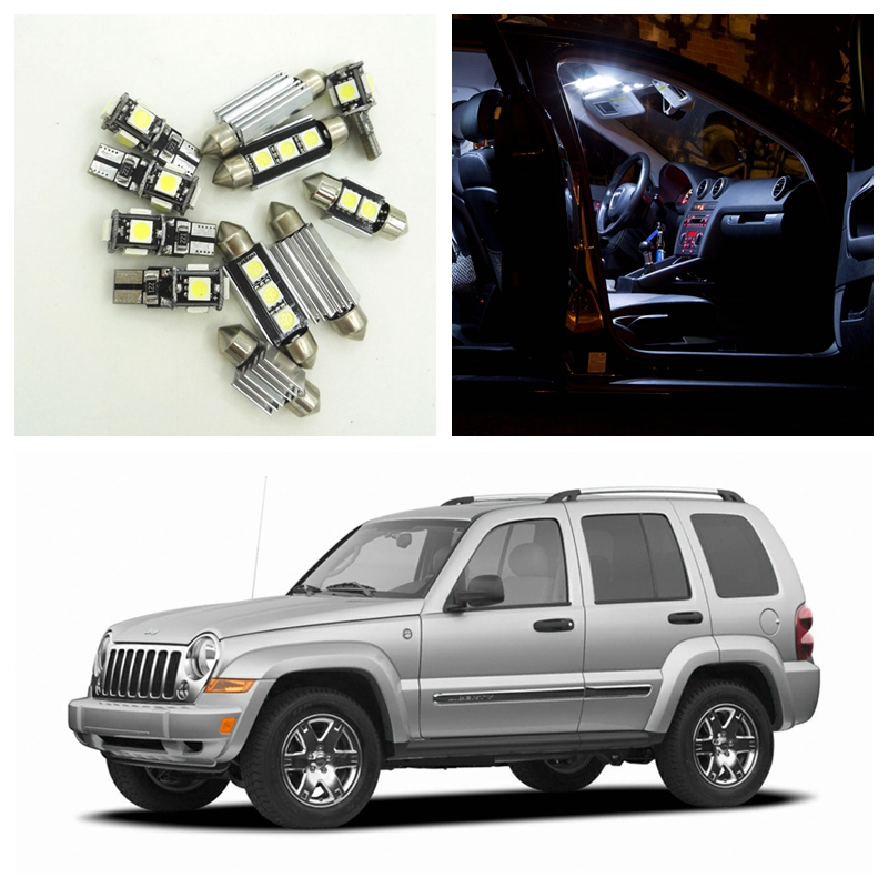 11pcs Pure White Canbus Car LED Light Bulbs Interior Package Kit For 2002-2006 Jeep Liberty Map Dome Trunk License Plate Lamp 15pcs white canbus error free car led light bulbs interior package kit for 2002 2003 2004 audi a4 b6 map glove box door lamp