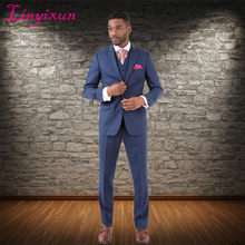 Linyixun 2018 Maddox Vested Solid Blue Premium Slim Fit Suit Notched Lapel Tuxedos Men Suits Groom Wear Wedding Party Suit(China)