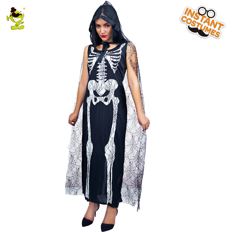 Women Skeleton Sexy Costume Scary Skull Printed Halloween Fancy Long Dress Adult Women Sleeveless Skeleton Costume with Cape