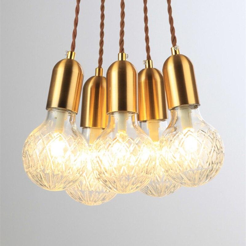 Işıklar ve Aydınlatma'ten Kolye ışıkları'de Basit Tarzı Nordic Pirinç Tek Kafa Droplight Kolye Işıkları LED Koridor Restoran Lamba Yaratıcı kişilik Sanat cam lambalar title=
