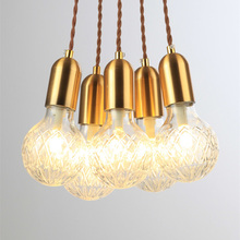 Simple Style Nordic Brass Single Head Droplight Pendant Lights LED Corridor Restaurant Lamp Creative personality Art glass lamps a1 dining room bar single head pendant lamp creative personality european style rural style pendant lamps fg515