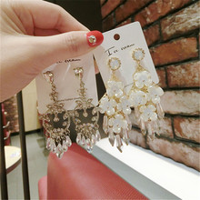 Korea Handmade Baroque Crystal Flower Rhinestone Women Drop Earrings Dangle Fashion Jewelry Accessories-QQD5
