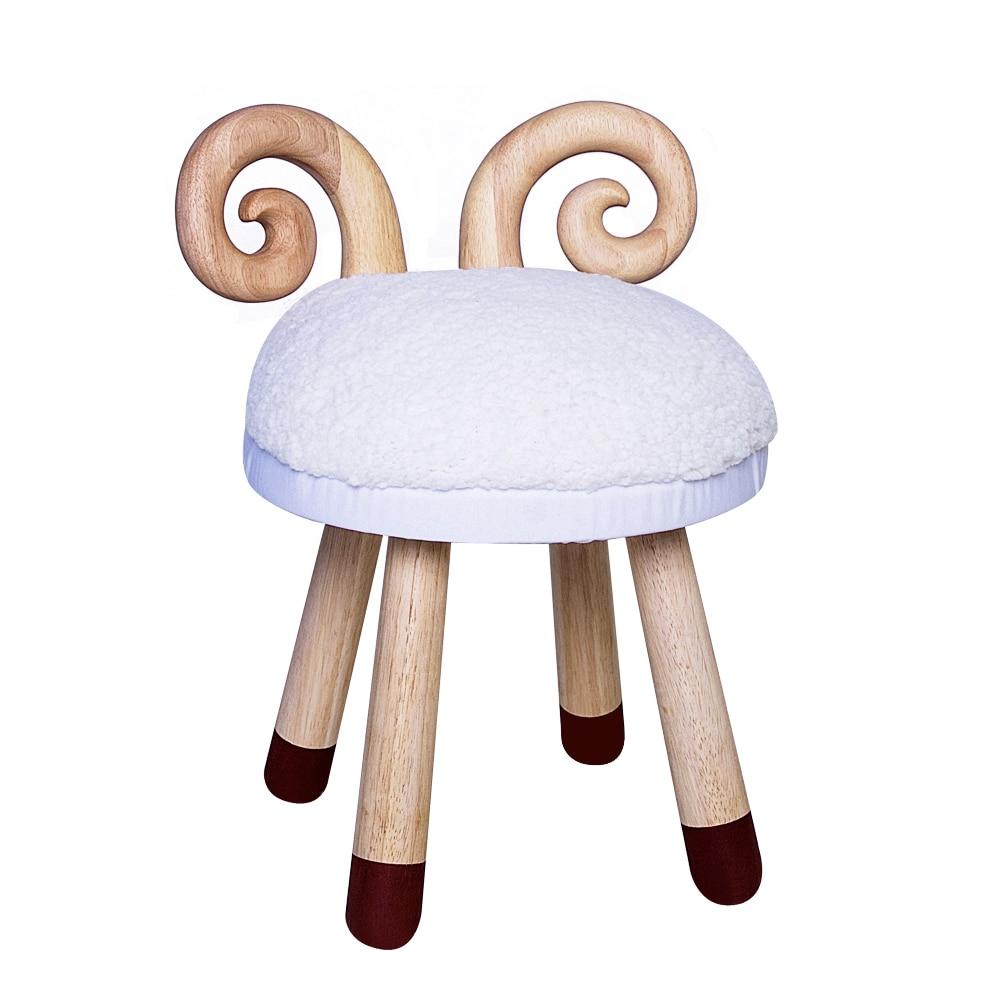 Stool Baby-Chair Animal Nordic Children's Deer Cartoon Solid-Wood Shoes Sofa Back Creative