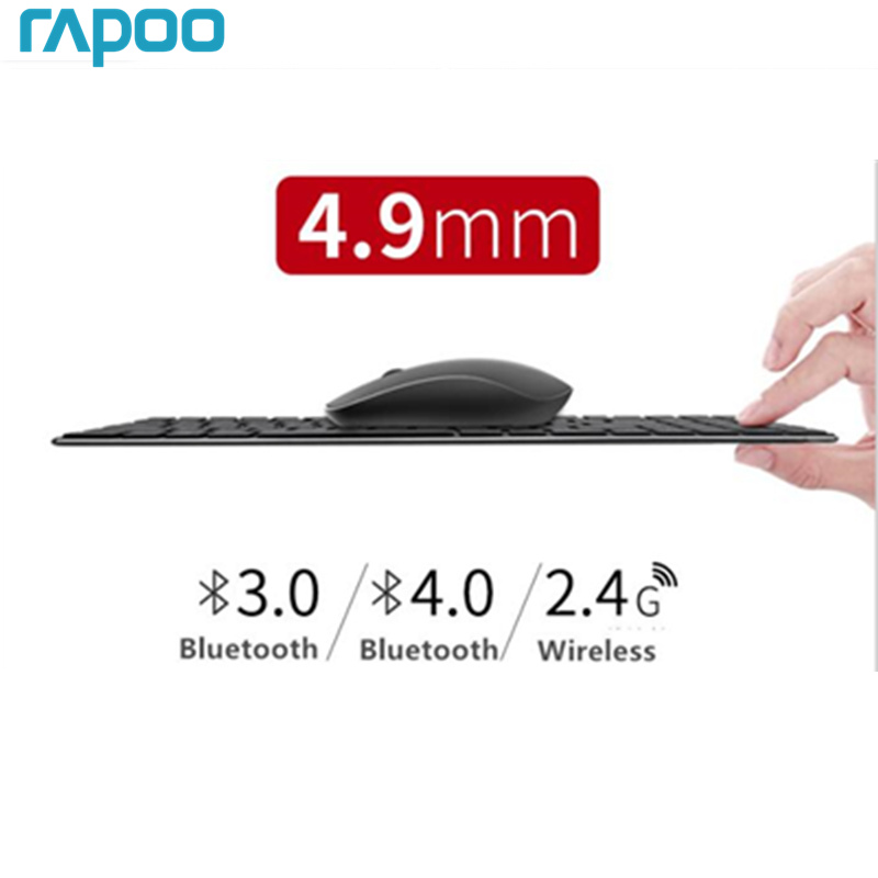 New Rapoo Multi-mode Silent Wireless Keyboard Mouse Combos Bluetooth 3.0/4.0 RF 2.4G switch between 3 Devices Connection