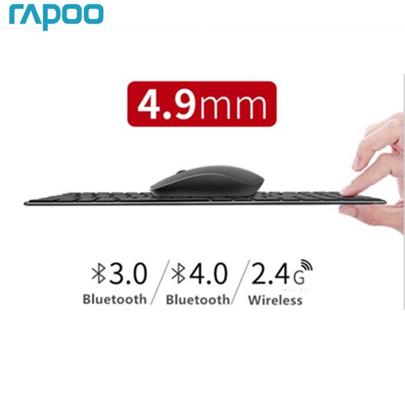 Nuovo Rapoo Multi-modalità Silenzioso Wireless Combo Tastiera e Mouse Bluetooth 3.0/4.0 RF 2.4g interruttore tra 3 Dispositivi di Connessione