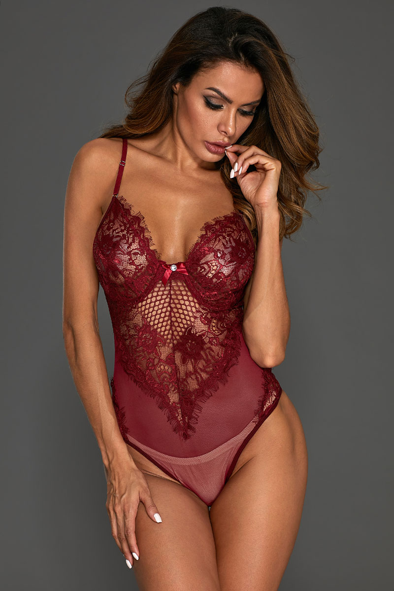 Burgundy-Sheer-Mesh-Lace-Cupped-Teddy-Lingerie-LC32077-103-4