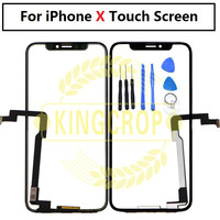 1PCS 100% tested 5.8''For Apple iPhone X Digitizer Front Glass Lens Touch Screen LCD Outer Panel With touch Flex Cable+Tools
