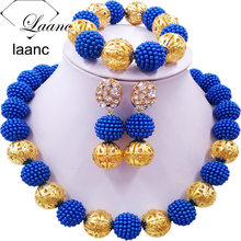 Laanc Royal Blue Simulated Pearl Beads African Jewelry Set 2017 Nigerian Wedding Necklace Sets Z6JQ005 red 100% genuine african coral beads necklace set nigerian wedding sexy bridal jewelry set dubai 2017 free shipping