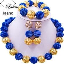 цена Laanc Royal Blue Simulated Pearl Beads African Jewelry Set 2017 Nigerian Wedding Necklace Sets Z6JQ005 онлайн в 2017 году