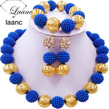 Laanc Royal Blue Simulated Pearl Beads African Jewelry Set 2017 Nigerian Wedding Necklace Sets Z6JQ005(China)