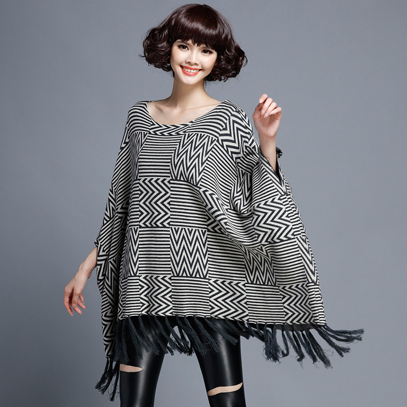 Women Tassel Plus Size Sweater 2016 Autumn Winter Hot Women Bat Sleeve Cloak Pullover Sweater Coat