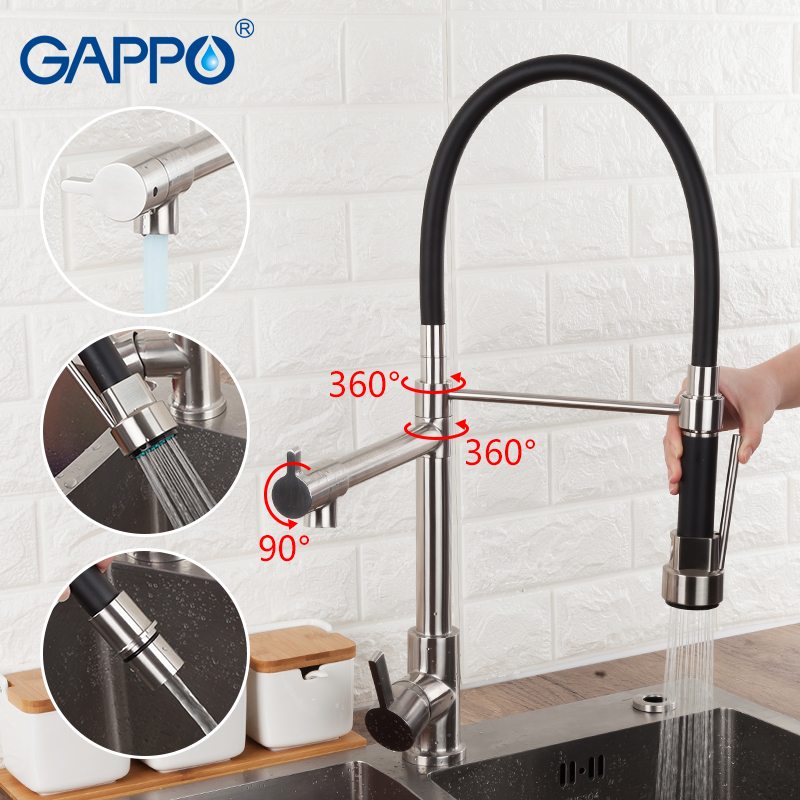 GAPPO Kitchen Faucet Water Mixer Taps Stainless Steel Kitchen Faucet With Hot And Cold Water Deck Mounted Flexible Kitchen Taps