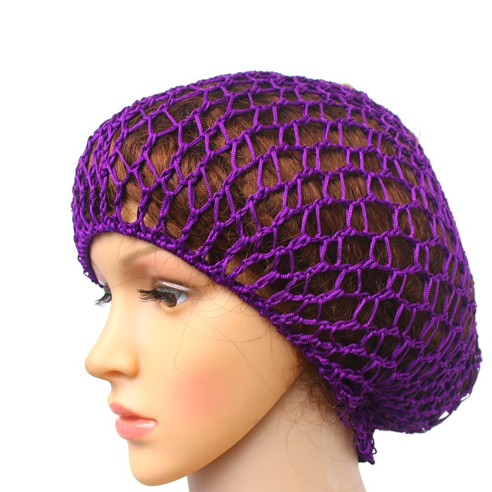 Women Soft Rayon Crochet Hairnet Oversize Knit Hat Cap 5 Colors Snood Hair Net Headbands Lady Hair Accessories Drop Shipping(China)