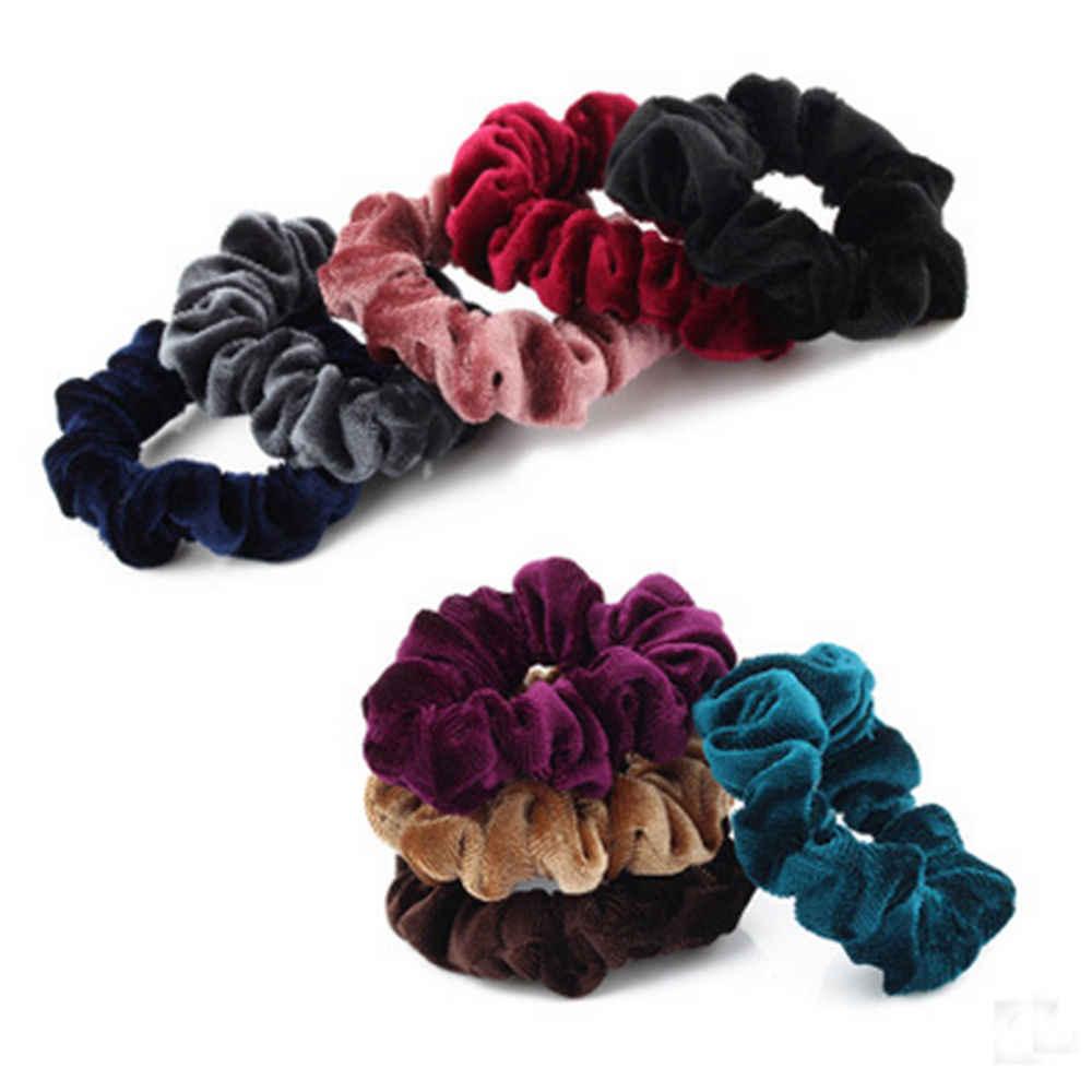 83f5e6bafdb 2 Pcs Elastic Velvet Scrunchies Donut Ponytail Holder Hairband Women Hot  Sale Scrunchie Hairtie Hair Accessories