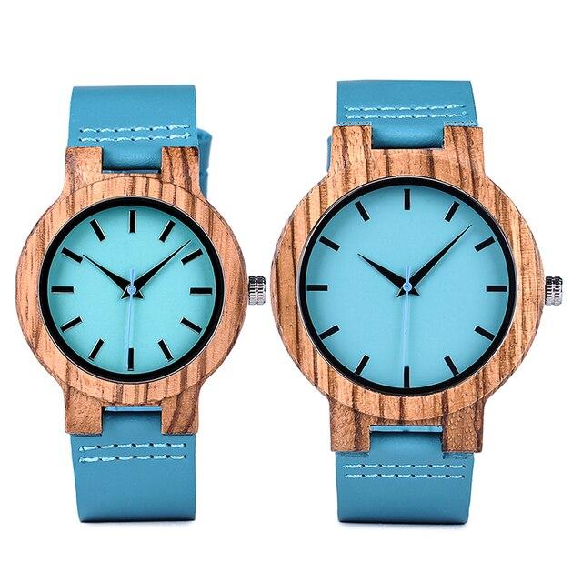 BOBO BIRD Lovers' Watches Women Wooden Men Watch Turquoise Blue Timepieces in Gift Box Relogio Masculino Drop Shipping W-C28 1