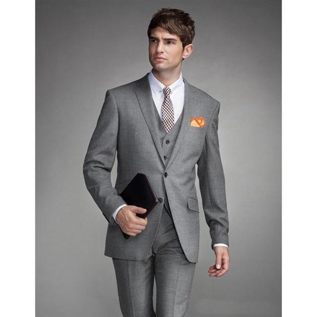 2017 New Light Grey Groom mens suit Tuxedo Notched Lapel Slim Fit ...