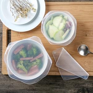 Image 2 - מזון כיתה סיליקון לעטוף כיסוי מטבח מקרר טרי כיסוי שקוף חותם כיסוי לשימוש חוזר קערת כיסוי