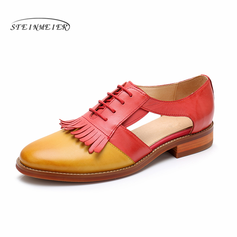 Genuine Leather women New yinzo brogues summer sandals flats shoes women handmade tassel vintage oford British style shoes 2018