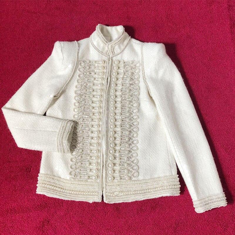 2018 우승자 새로운 여성 진주 울 트위드 자켓 코트-에서베이식 쟈켓부터 여성 의류 의  그룹 1