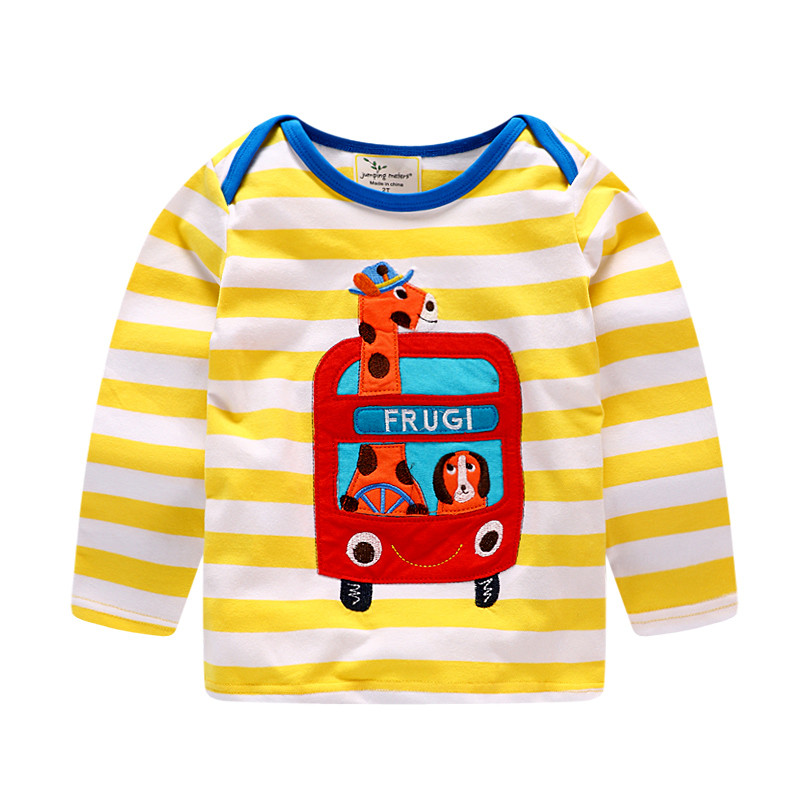 Jumping meters Tshirts kids boys striped cute baby clothes autumn spring wear long sleeve blouse tops tees chidren T shirt 18-6T