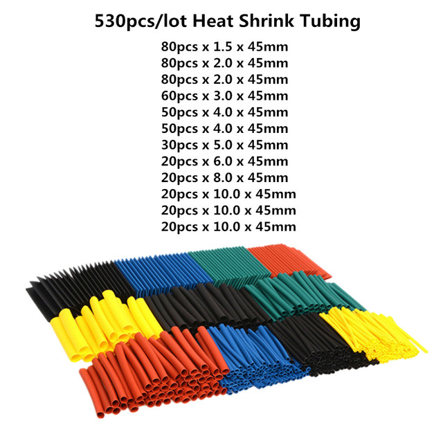 164 sztuk/328 sztuk/127 sztuk/530 sztuk zestaw poliolefinowe kurczenie Assorted rurka termokurczliwa drut kabel izolowane rękawy zestaw 2:1