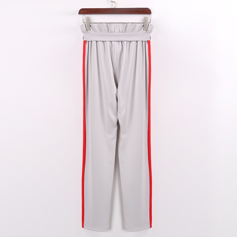 HOUZHOU High Waist Hole Trousers for Ladies Pencil Pants Women Spring 2019 Drawstring Panelled Loose Streetwear Slim Casual