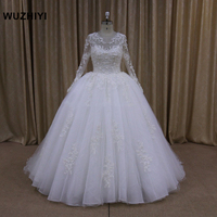 WUZHIYI Vestido De Noiva Long Sleeves Ball Gown Wedding Dresses Appliques Lace Luxury Wedding Gowns Robe