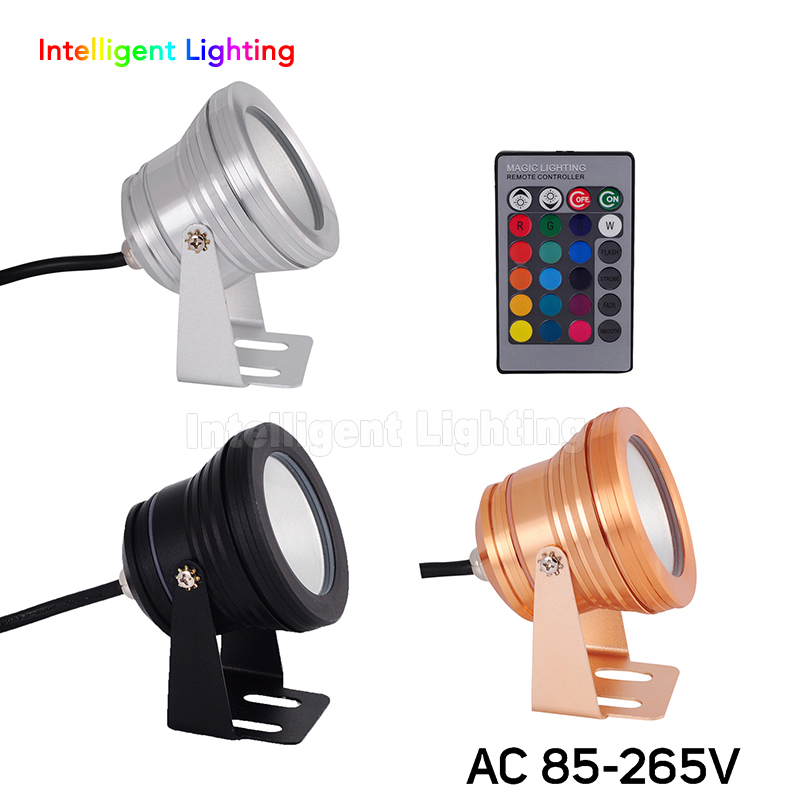 10W AC 85-265V Silver Surface/Gold Surface/Black Surface RGB/R/G/B/White/Cold/Warm White led underwater light Plain mirror