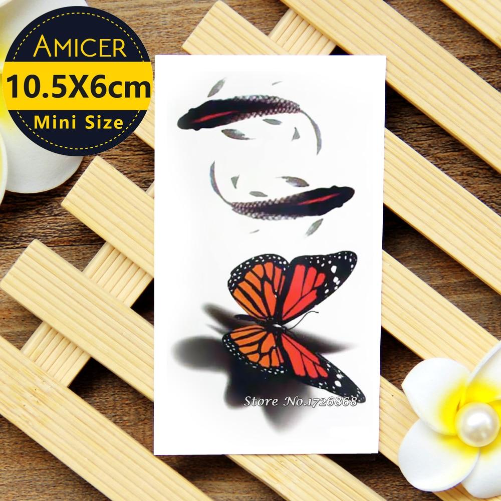 Waterproof Temporary Tattoo Sticker 10.5*6 Cm Butterfly Goldfish Tattoo Water Transfer Fake Tattoo Flash Tattoos For Women #090