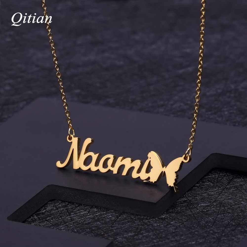 Personalized Name Necklace With  Butterfly Symbol Customized Nameplate For Birthday Gift Gold Stainless Steel Jewelry
