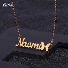 65562eb7d4f0 Collar nombre personalizado con mariposa símbolo personalizada placa para  regalo de cumpleaños joyería del acero inoxidable del .