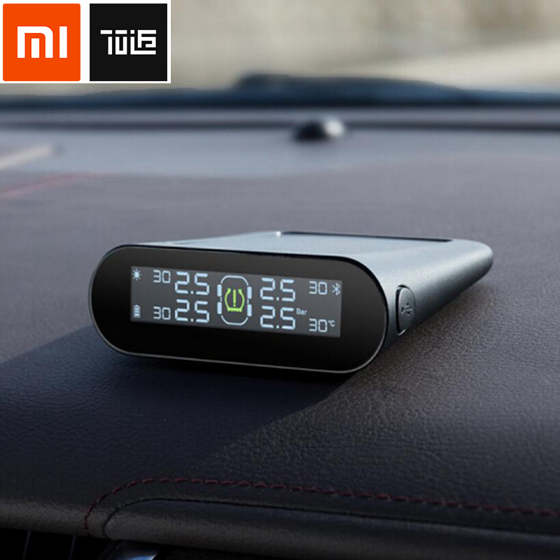 Xiaomi 70Mai T01 Tire Pressure Tester Monitoring Solar Wireless Built-in Tire Pressure Monitor System Alarm with Car Gauge Sens flashlight tire gauge emergency tool digital lcd car tyre tire pressure gauge meter hammer for car motorcycle bicycle
