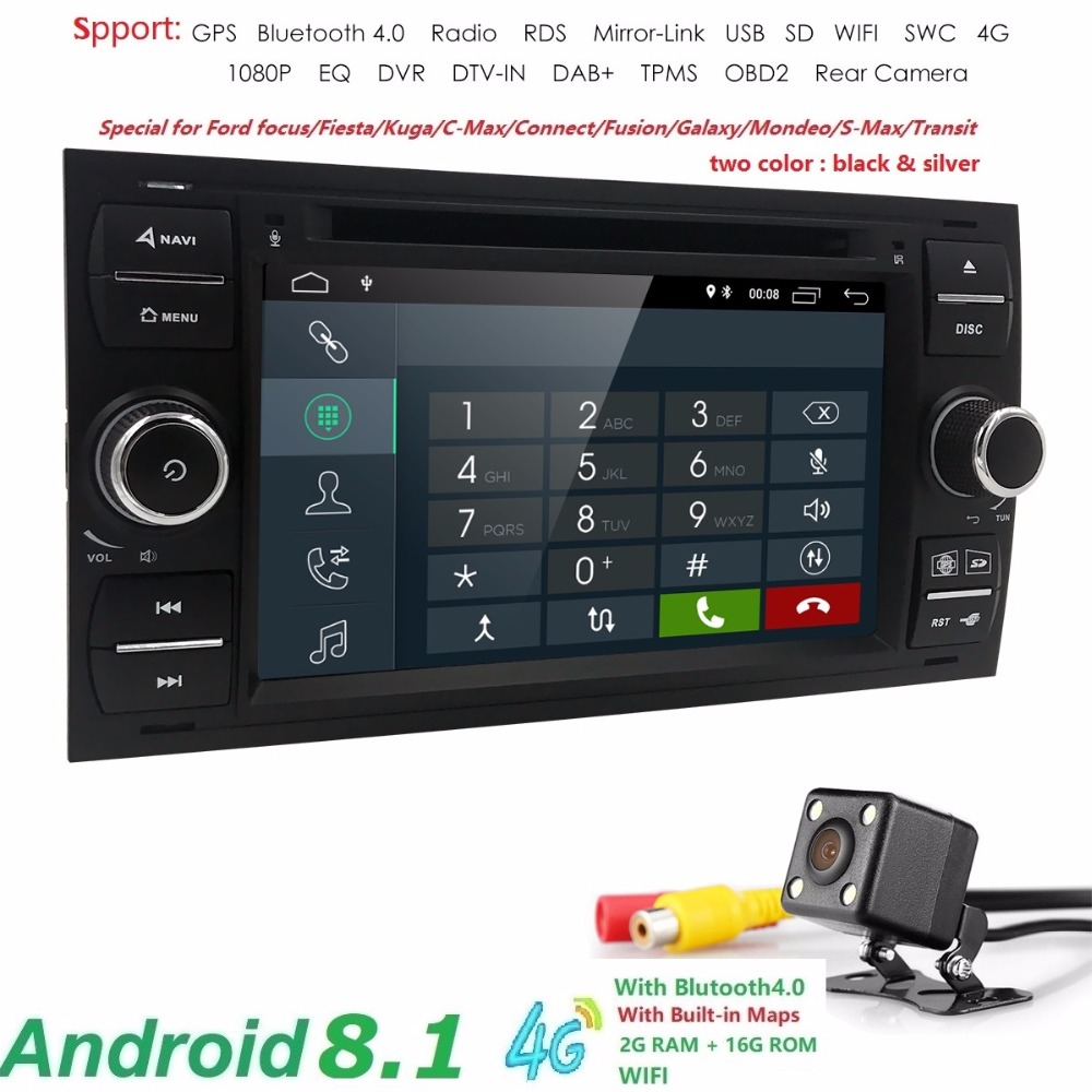 2 din Android 8.1 Quad Core Car DVD Player GPS Navi for FORD FOCUS/MONDEO/C-MAX with Audio Radio Stereo Head Unit 2G+16G DAB CAM цена 2017