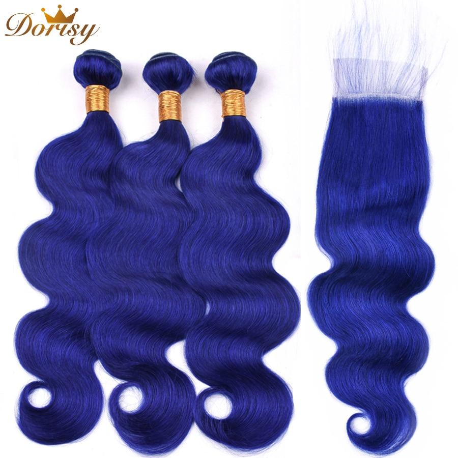 Blue Hair Body Wave Bundles With Closure Peruvian Hair With Lace Closure Remy Human Hair Bundles With Closure Dorisy Hair