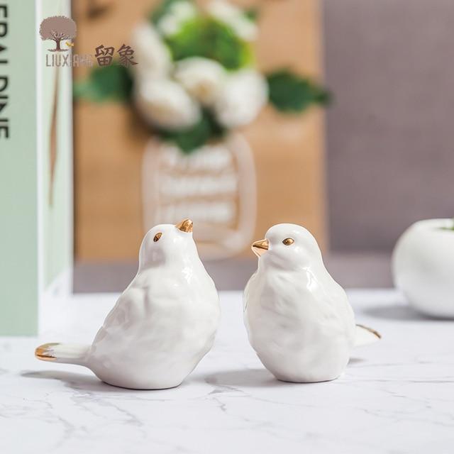 Lx Home Furnishing Decor Porcelain Birds Decoration Accessories Animal Statue Present Anniversary Gift Ornament