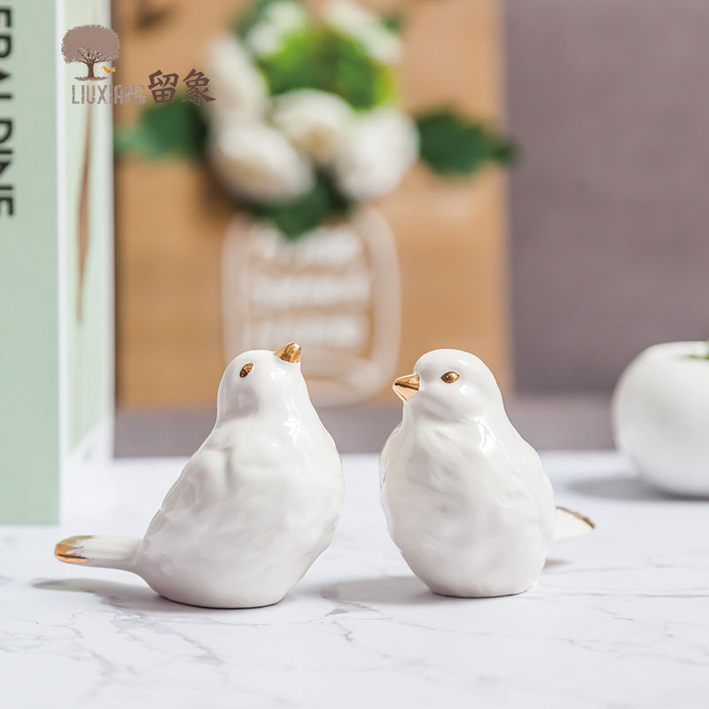 LX Home Furnishing Decor Porcelain Birds Home Decoration Accessories Animal Statue Present Anniversary gift Ornament Home Decor