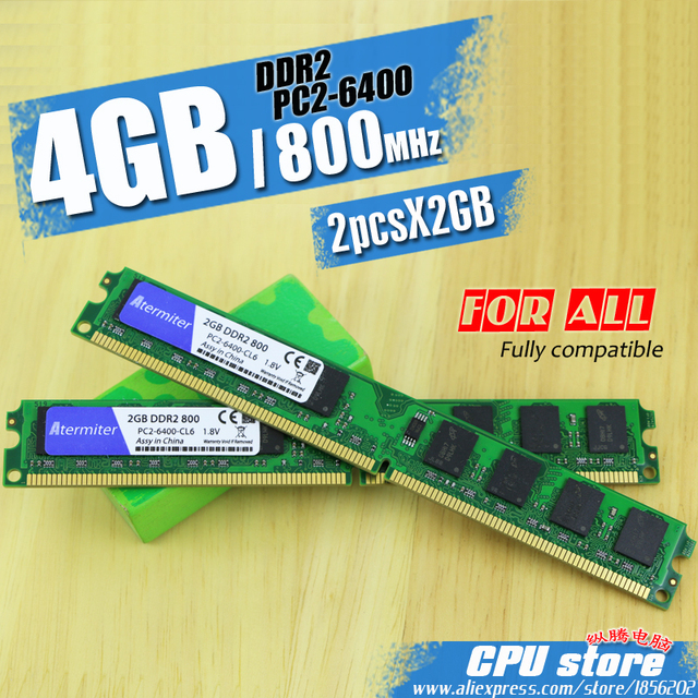 New 4GB(2pcs2GB) DDR2 PC2-6400 800MHz For Desktop PC DIMM Memory RAM 240 pins (For intel amd) System High Compatible
