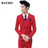 BATMO 2019 new arrival high quality Korea style slim red suits men,men's wedding dress plus size M XXL TZ48