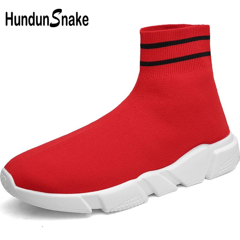 buy popular 2eb22 d4895 US $18.06 57% OFF|Hundunsnake High Top Running Socks Sneakers Women Red Men  Sport Shoes Woman Knit Women's Running Shoes Sports Gym Jogging T661-in ...