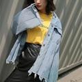 2017 recién llegado de primavera/antumn chaquetas de mezclilla cortos agujero vintage denim chaqueta de ropa de abrigo capa de las mujeres ocasionales pantalones vaqueros femenino