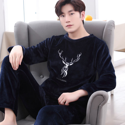 Winter Pajamas Men Long Sleeved Coral Fleece Warm Soft Flannel Pyjamas Mens Lounge Animal Pajama Set Sleepwear Sets Big Size 3XL