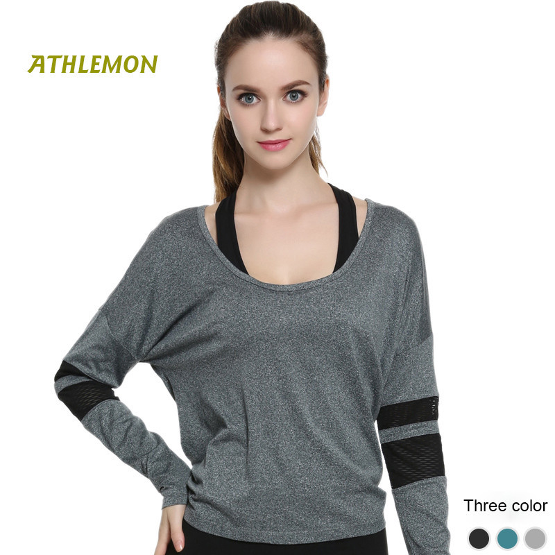 Athlemon Long Sleeve Women Yoga Shirt Cross Grey Running Outdoor Workout Tops for Women Fitness Ropa Deportiva Mujer T-shirt