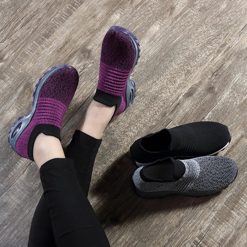 Womens Flats Slip On Shoes for Women Sock Sneakers Platform 2019 Comfortable Soft Ladies Spring Buty Damskie Sepatu Wanita Black 4