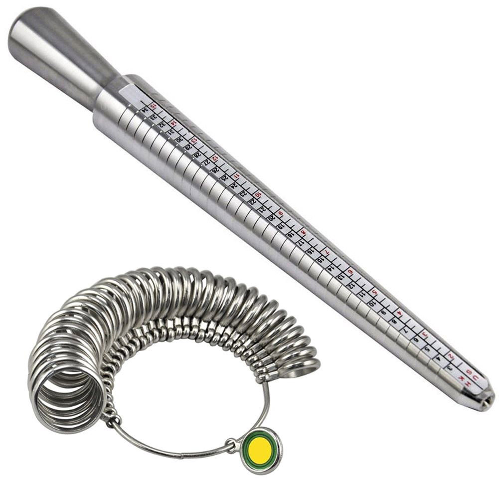 Newest Accurate measurement Metal Ring Sizer Guage Mandrel Finger Sizing Measure Stick S ...