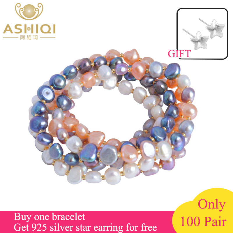 ASHIQI Freshwater Pearl bracelets for women Multi Color Baroque Pearl Crystal Beaded Bracelets & Bangles FI jewelry gift plus pearl beaded bell sleeve blouse