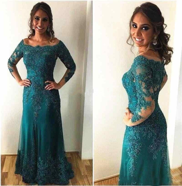 Us 131 1 5 Off Vestido Novia Long Sleeve Floor Length Appliques Lace Women Evening Guest Gowns 2018 Hunter Green Mother Of The Bride Dresses In