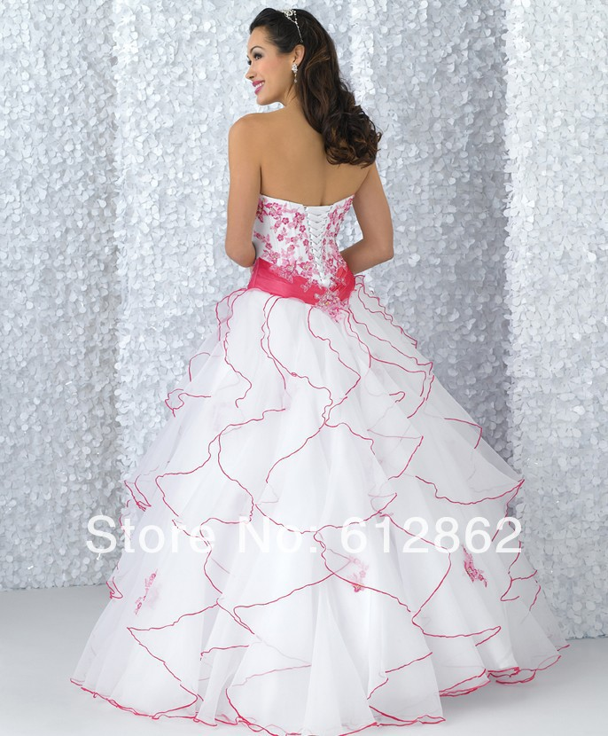 Strapless Sweetheart Lace Up Back Ruffled Organza Skirt Beaded Bodice Pink And White Wedding Dresses In From Weddings Events On