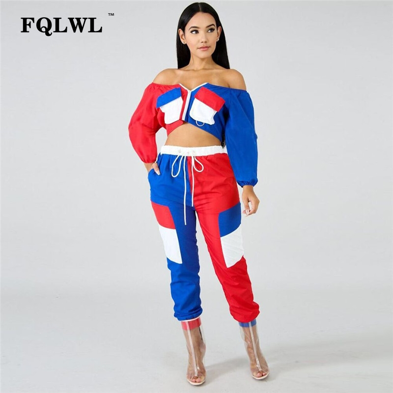 FQLWL Patchwork Off Shoulder <font><b>2</b></font> <font><b>Piece</b></font> Set <font><b>Outfits</b></font> <font><b>For</b></font> <font><b>Women</b></font> Long Sleeve Crop Top+<font><b>Pants</b></font> Streetwear Tracksuit <font><b>Women</b></font> Matching Sets image